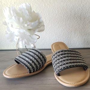 Black Sparkly Slides Sandals